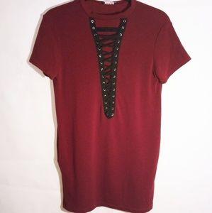 Fashion Nova Red & Black Shirt Dress With Pockets